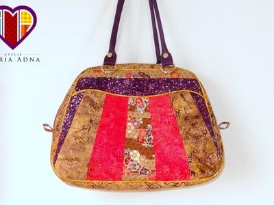 Bolsa de tecidos em patchwork Cláudia Marilou - Maria Adna Ateliê - Aulas de bolsas em patchwork