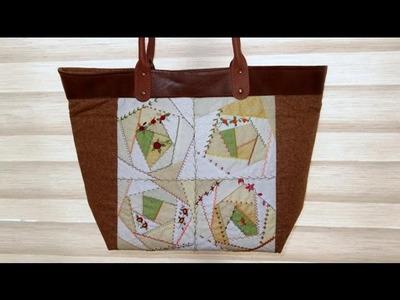 Bolsa em patchwork Crazy - Maria Adna Ateliê - Cursos e aulas de bolsas de tecido e com patchwork