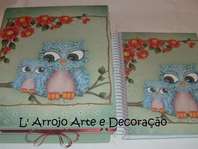 Caixa passa fita e caderno com Scrapbooking Litoarte SD 393