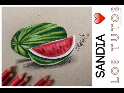 COMO DIBUJAR UNA SANDIA REALISTA CON LAPICES DE COLORES -how to draw a watermelon