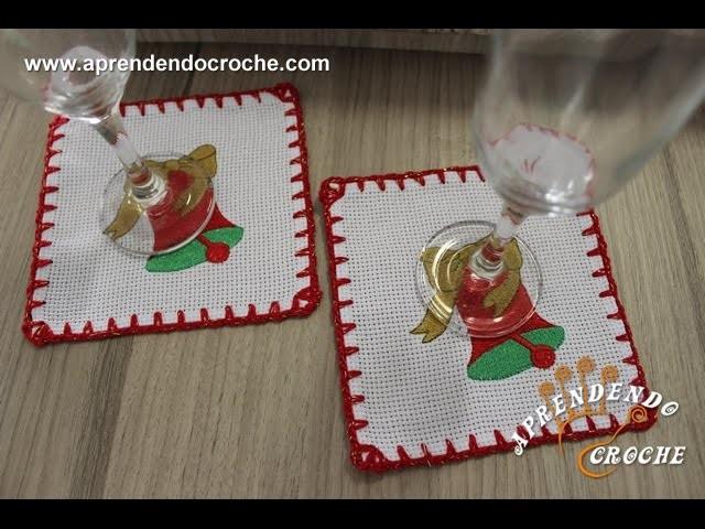 Crochê com Etamine - Porta Copos Natal - Aprendendo Crochê