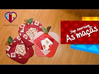 Jogo Americano em patchwork As maçãs - Maria Adna Ateliê - Aulas e cursos de patchwork
