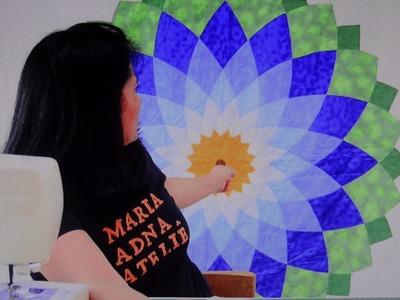 Manta.colcha de casal em patchwork Flor Dalia - Maria Adna Ateliê - Cursos e aulas de patchwork