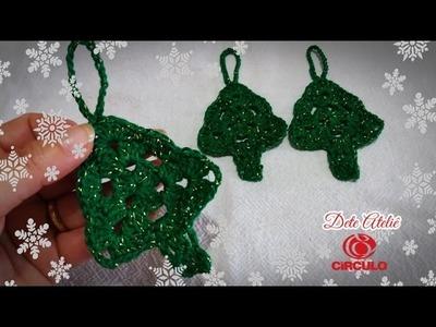 Mini árvore de Natal em crochê para aplique