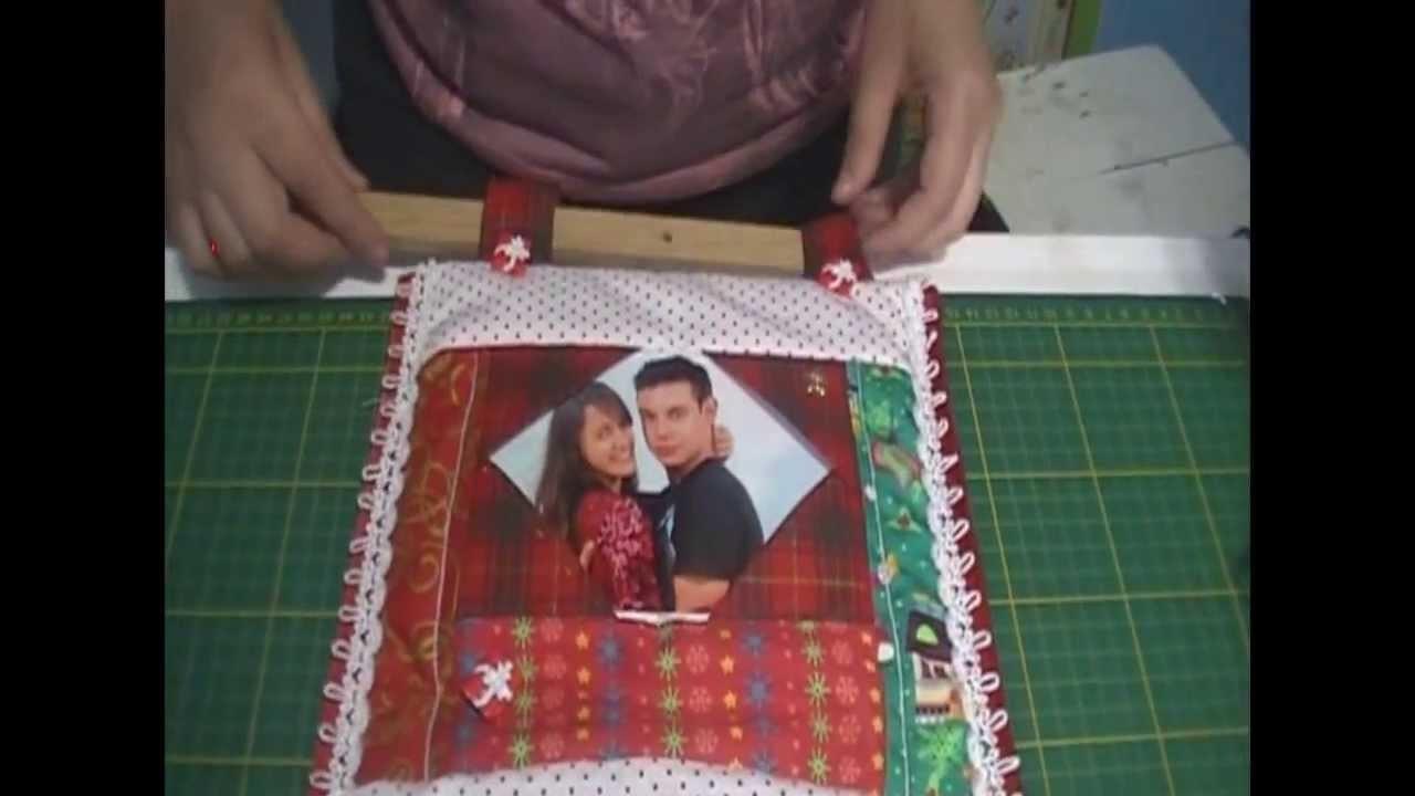 Decoração de Natal em Patchwork - Porta Retratos