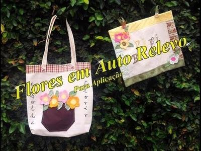 Flores em Auto Relevo  -  Para Aplicação em bolsas, ecobags, roupas, etc.
