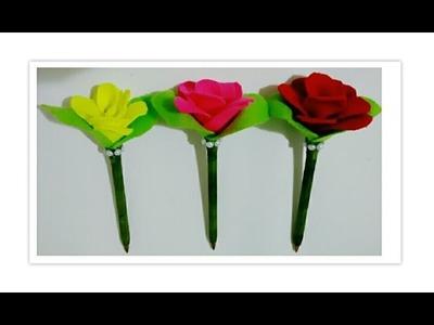Caneta decorada com rosa em Feltro - Passo a passo - Caneta com Flor