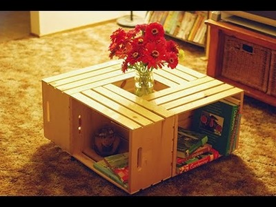 Faça você mesma uma mesa de centro com caixotes de madeira