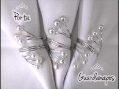 Como fazer Porta Guardanapos de pérolas com arame de alumínio