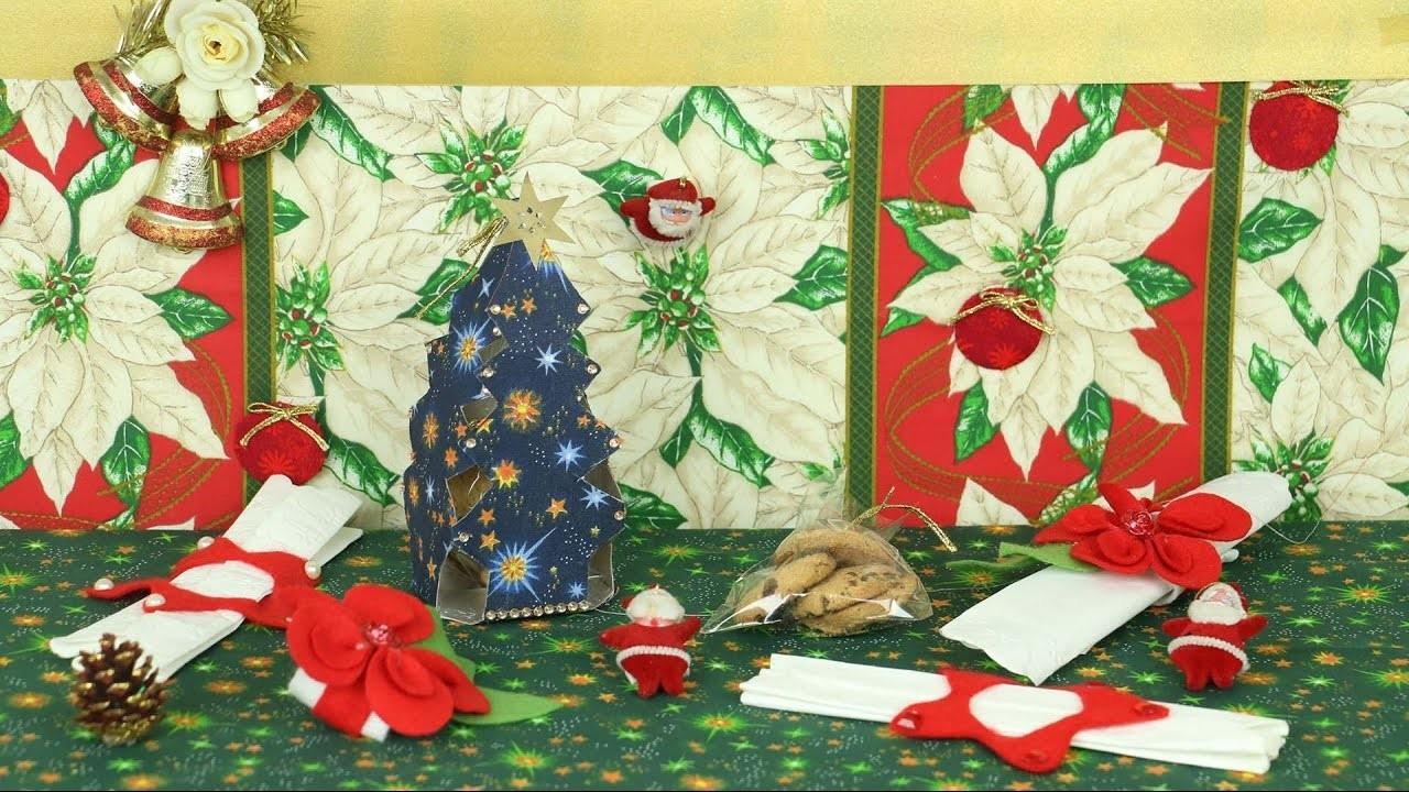 Pinheiro de Natal com Caixa de Leite e Argolas para Guardanapo
