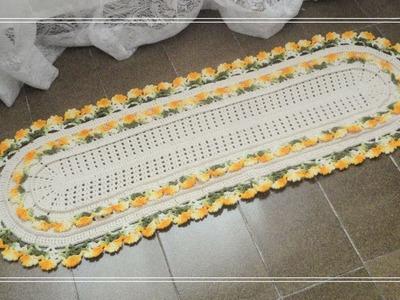 Passadeira ou Tapete em Crochê | Floral Alegria Amarelo