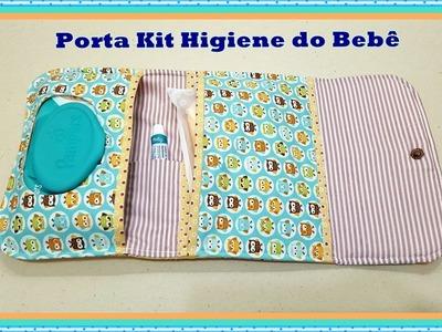 Passo à Passo Porta Kit Higiene do Bebê de Tecido.
