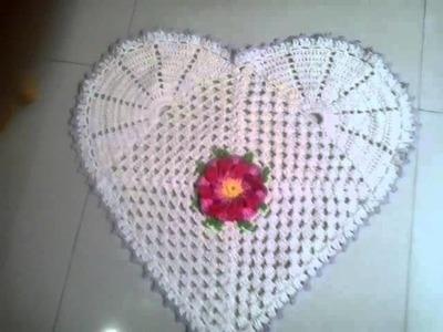 Tapete de crochê de coração Heloisa Helena