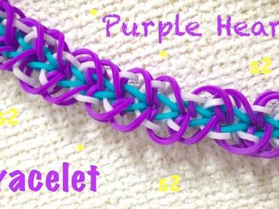 Como fazer pulseira de elástico - Purple Hearts #LoomBands (sem tear) ファンルームブレスレットの作り方 - レインボールーム