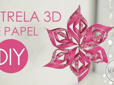DIY Como fazer ESTRELA 3D. FLOCO DE NEVE DE PAPEL - FESTA FROZEN - Passo a Passo Madame Criativa
