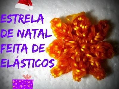 Estrela de natal feita de elásticos. .
