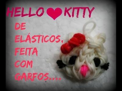 Hello kitty de elásticos ,feita com garfos.