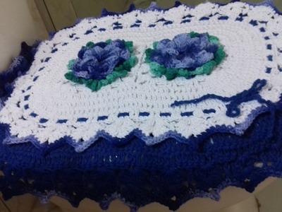 Jogo de Banheiro em Crochê- Tampa do Vaso  Barrado Duplo - com Cristina Coelho Alves