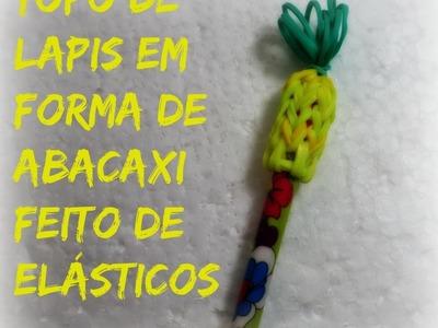 Topo de lapis em forma de abacaxi feito de elásticos