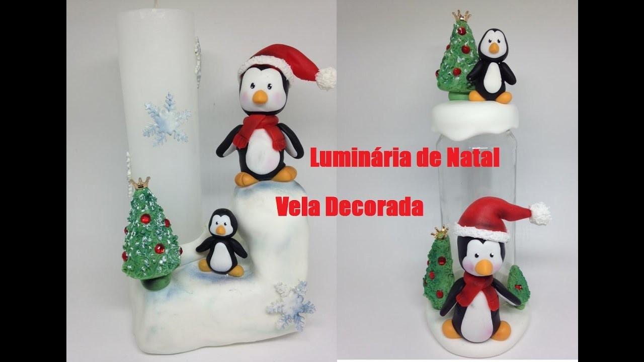 #5 - Vela decorada - Luminária de Natal - Pote para presentear