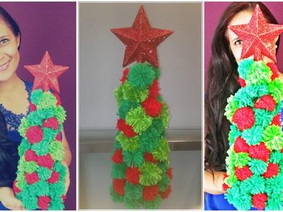 Árvore de Natal de pompom de lã - DIY- Natal ♡