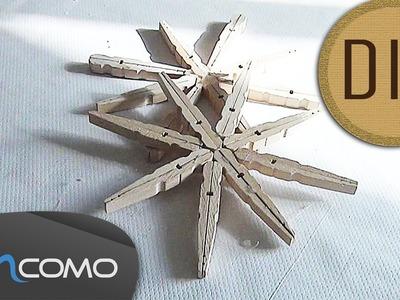 DIY-Flocos de Neve feito com Molas da Roupa