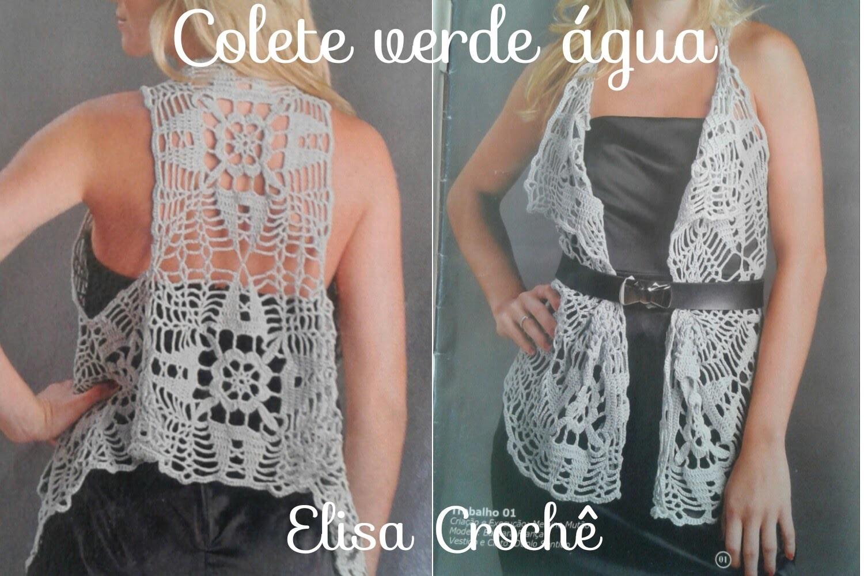 Aula 395-Versão canhotos : Colete verde água em Crochê (5° parte explicação final )# Elisa Crochê
