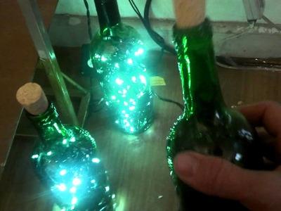 Como fazer decoração de Natal utilizando garrafas, decore com luzes e garrafas de vidro faça em casa