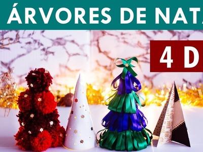 4 DIY Árvores INCRÍVEIS de Natal com papel, pompom e fita |  Faça Seu Natal DIY | Mini árvore barata