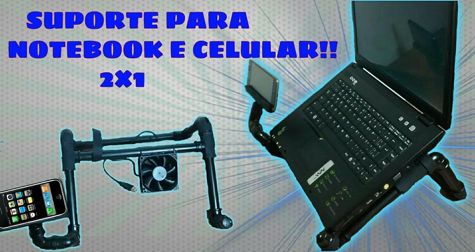 COMO FAZER?suporte para notebook com suporte se celular acoplado 2x1