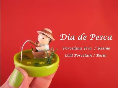 Dia de Pesca en Porcelana Fria - Resina. Cold Porcelain - Resin
