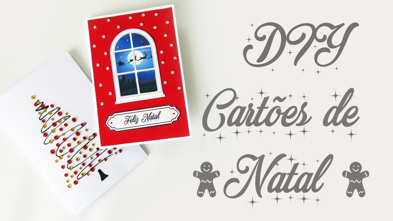 DIY: COMO FAZER CARTÕES DE NATAL - Criativo, Fácil e Barato! Christmas Card Tutorial