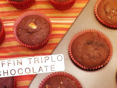 Muffin de Chocolate Triplo - Confissões de uma Doceira Amadora