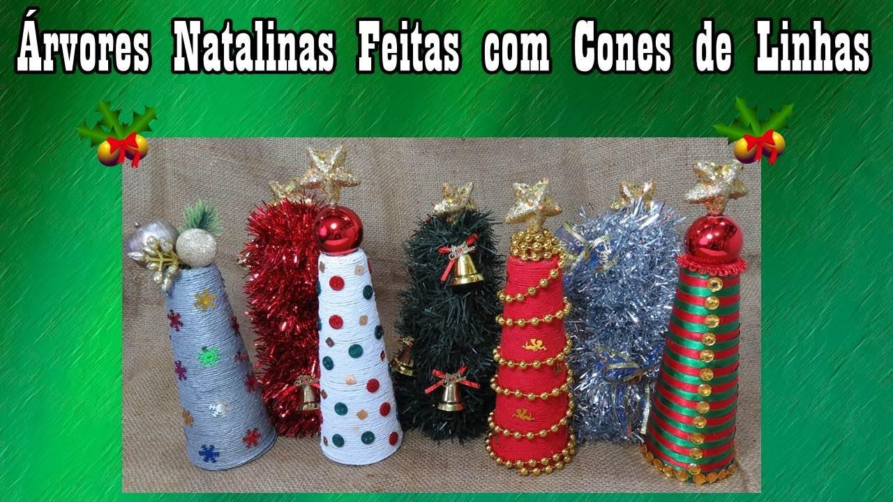 Árvores Natalinas feitas com Cones de Linha