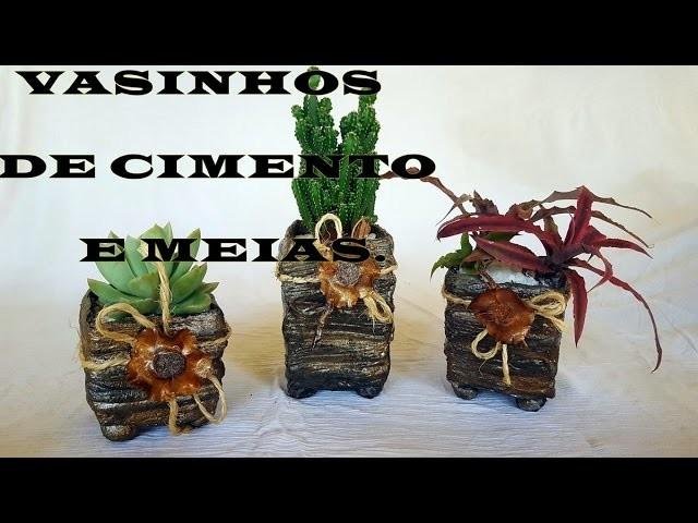 DIY.VASINHOS DE CIMENTO E MEIA (MACETAS DE CEMENTO Y CALCETINES)