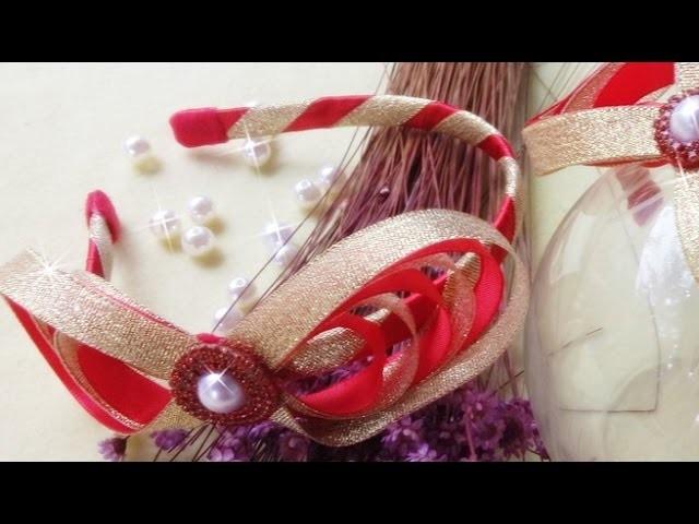 Tiara natalina.laço de fita