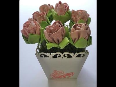 Vaso decorativo com flores de tecido - Aula parte única