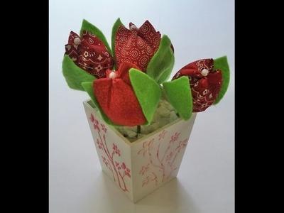 Vaso decorativo com tulipas de tecido - Aula parte única