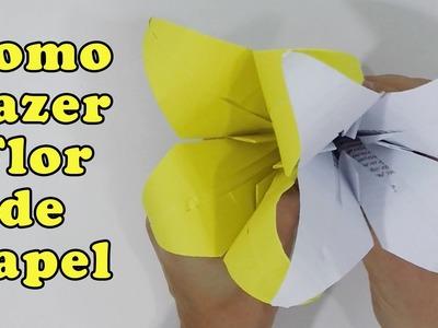 Como Fazer Flor de Papel A4 Passo a Passo - Origami Lírio Dia das Mães