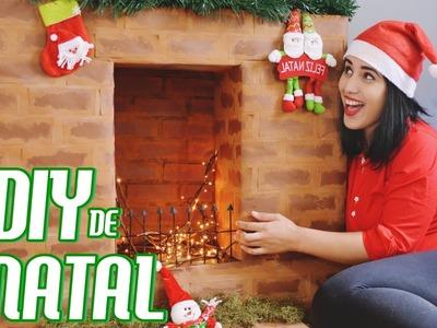 DIY :: Lareira Fake para Decorar - Preparando o Natal! ♡♡ Com Papelão