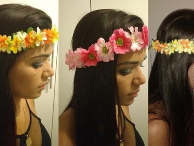 Faça você mesmo - Tiara ou coroa de flores para o cabelo!