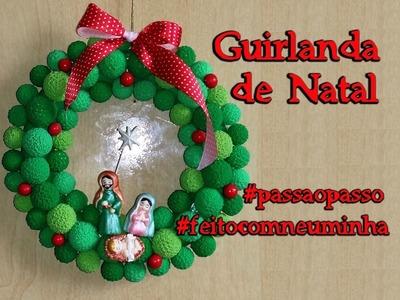 Guirlanda de Natal em biscuit - Neuma Gonçalves