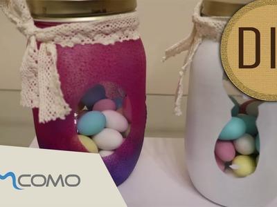 Pote de vidro decorado | Amêndoas da Páscoa