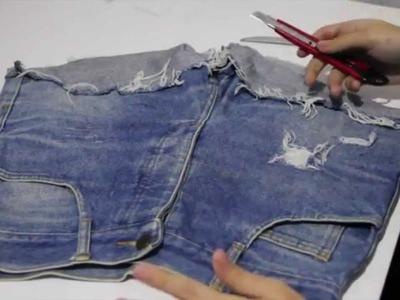 DIY - Como Desfiar Seu Jeans passo a passo. How To Make A Destroyed Jeans step by step