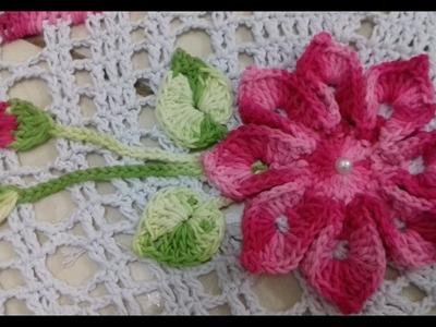 Flor, Botões e Folhas em Crochê Para Aplicações em Tapete de Barbante Oval Com Cristina Coelho Alves