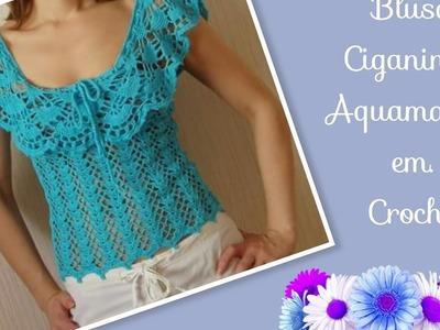Versão canhotos: Blusa Ciganinha Aquamarine em crochê tam. P ( 1° parte) # Elisa Crochê