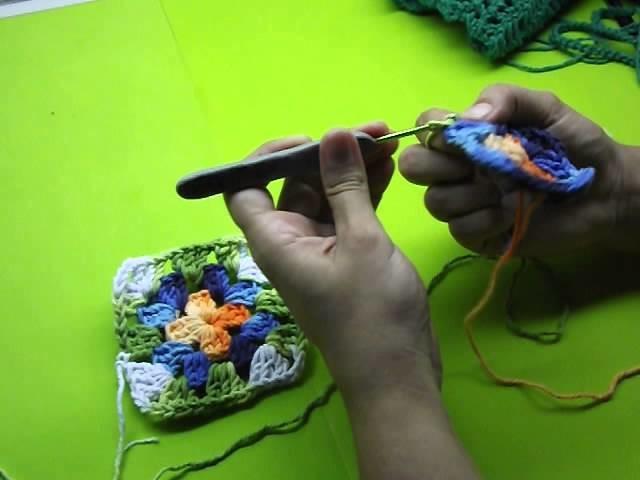 Aula de quadradinhos de Crochê, Crochet Squares, (aula para canhotas)01