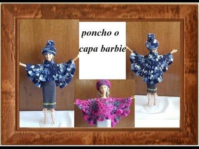 Capa o poncho  asimetrico barbie a crochet