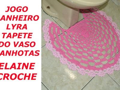 CROCHE PARA CANHOTOS - LEFT HANDED CROCHET - JOGO BANHEIRO LYRA EM CROCHÊ TAPETE DO VASO - CANHOTAS