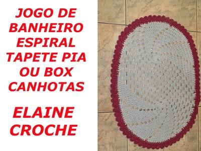CROCHE PARA CANHOTOS - LEFT HANDED CROCHET - JOGO BANHEIRO ESPIRAL - TAPETE PIA CANHOTAS